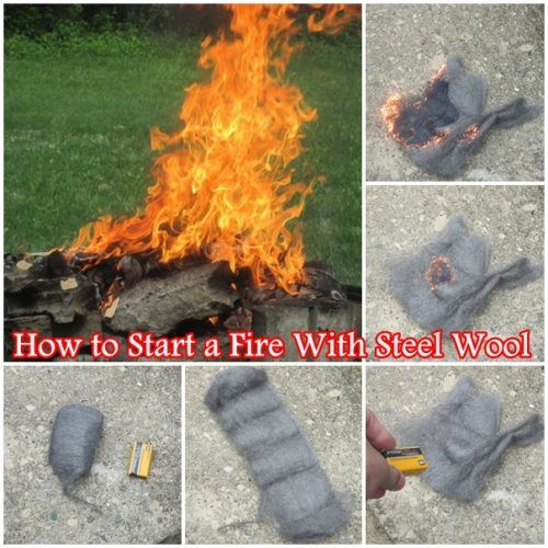 """How to Start a Fire With Steel Wool  Homesteading  - The Homestead Survival .Com     """"Please Share This Pin"""""""