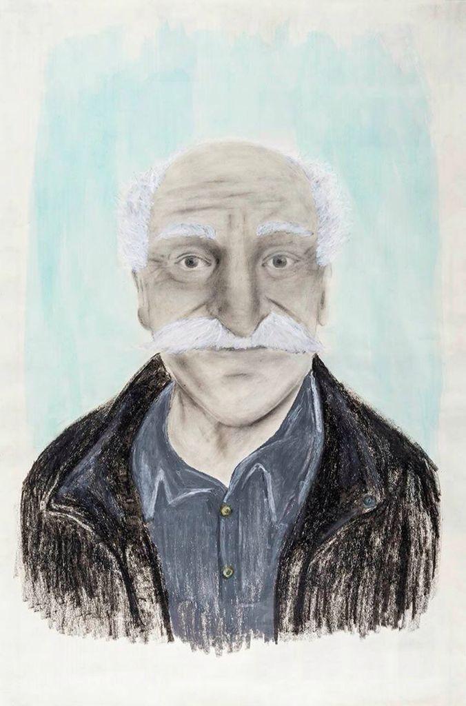 #Retrato de Jorge Ayala Blanco por Bertha Arisbeth Hernández Gaytán. Grafito, acuarela y crayón sobre papel. Primer lugar #UNAM #AutoresUNAM