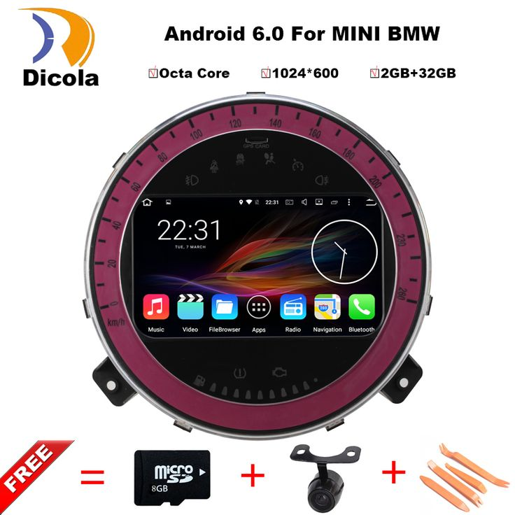 """7"""" 1024*600 Octa Core Android 6.0.1 OS Special Car DVD for BMW Mini Cooper 2006-2013 with External DAB+ Receiver Box Support"""