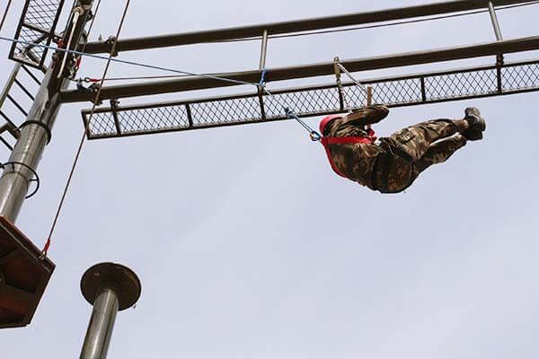 Military Training High Ropes Obstacle Course Finished Construction Military Training Obstacle Course Obstacles
