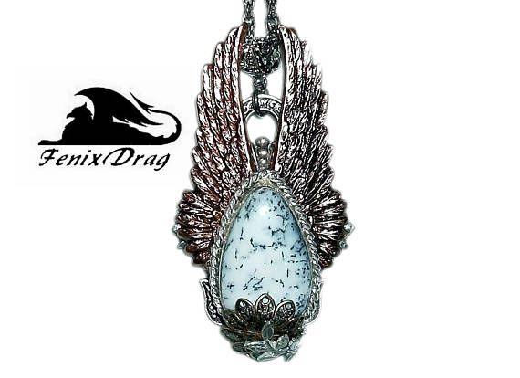 Pendant Snowdrops white winter stone dendrite opal