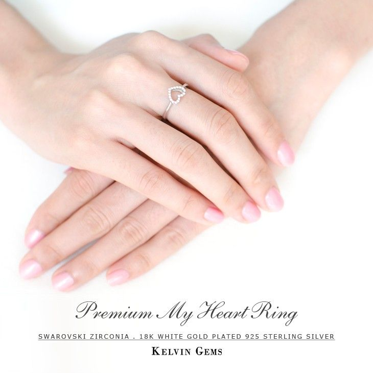Valentine's Day Gift Idea - Premium My Heart Ring Made With SWAROVSKI Zirconia in 18K White Gold Plated 925 Sterling Silver #kelvingems #valentine2015 (Free Shipping Nationwide + Free Valentine's Gift Packaging + 1 Year Manufacturer Warranty for SWAROVSKI Zirconia + Free Polishing Service + 7 Days Exchange Period)