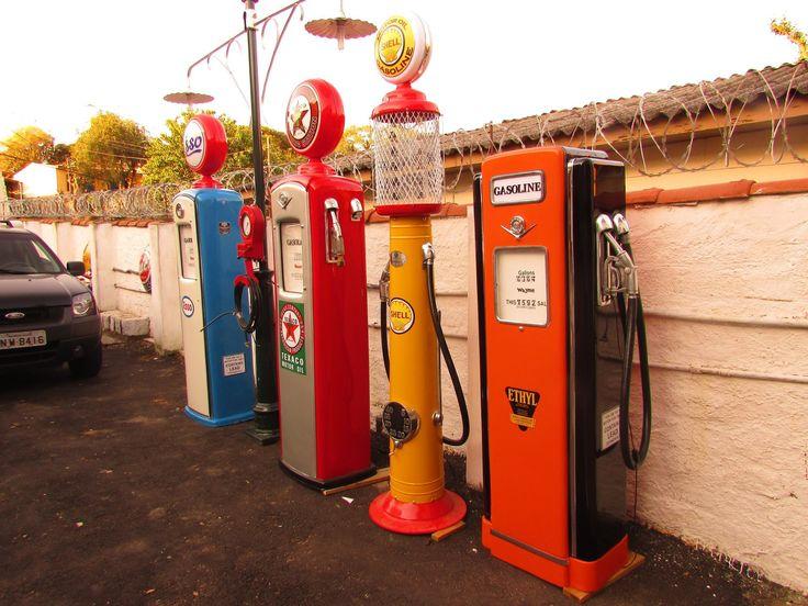 Bombas de Gasolina Antigas - Ariri Pistola - Placas decorativas, bombas de gasolina antigas, objetos retrô.