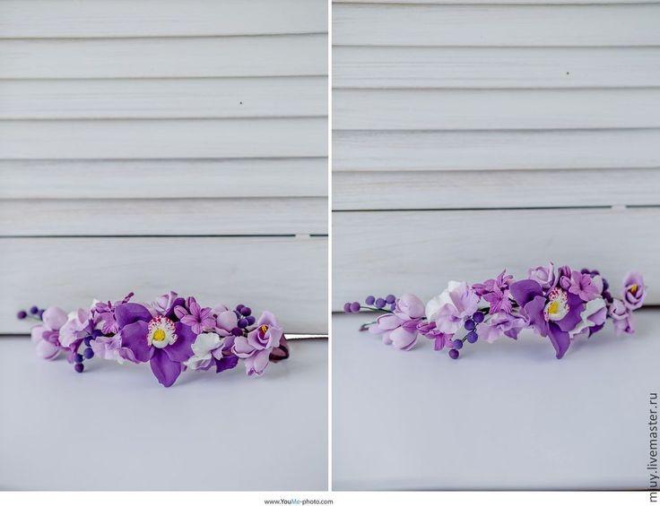 """Купить Венок """"Виола"""" - разноцветный, фиолетовый, венок, украшение для волос, свадебное украшение, украшение для невесты"""