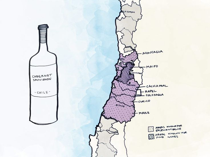 Chilean Cabernet Wine map.  Where to look for great wines from Chile.