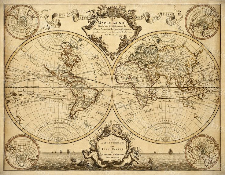 1720 Old World Map,World Map wall art, Historic Map Antique Style map art Guillaume de L'Isle mappe monde Wall Map Vintage Map Home Decor