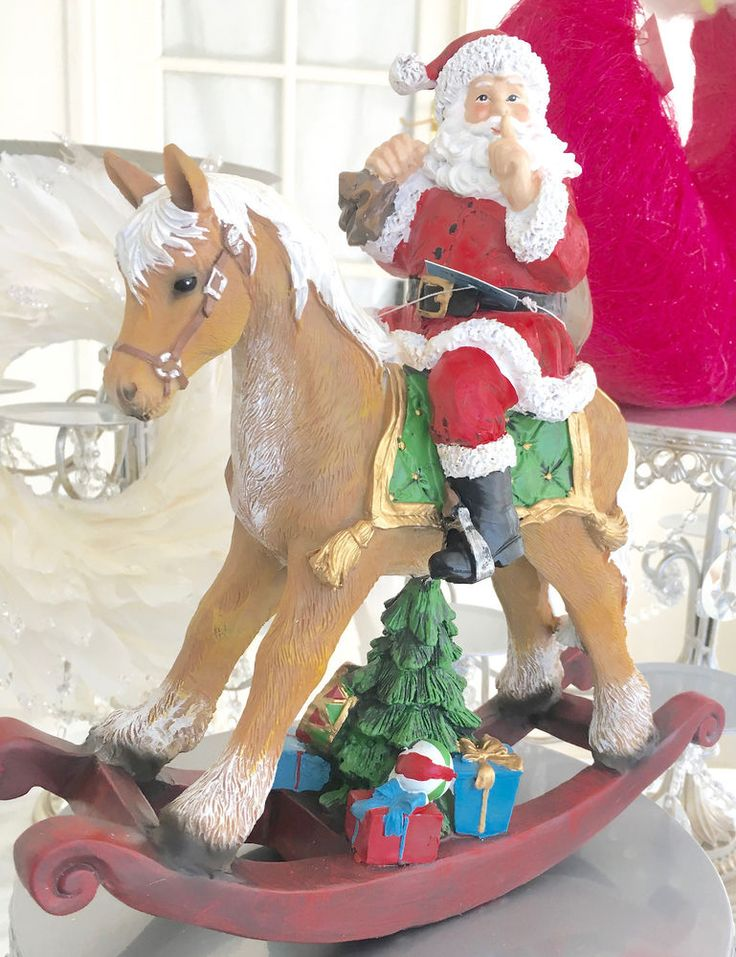 Shabby Chic Vintage Style Mantle Table Display Santa Father Xmas Rocking Horse