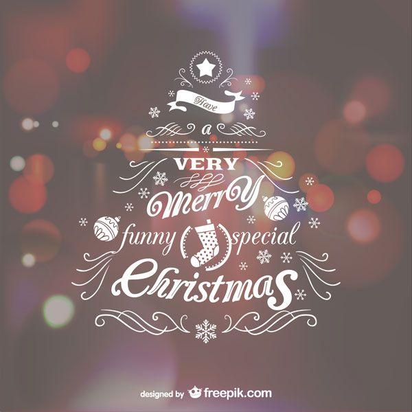 光のボケとタイポグラフィでデザインしたクリスマスカードのテンプレート