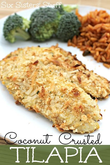 Delicious Coconut Crusted Tilapia from Sixsistersstuff.com #fish #coconut #Tilapia