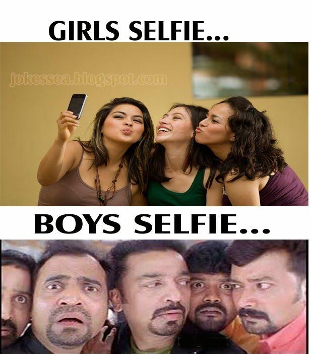 JOKES: Girls Vs Boys Selfie | Punch dialogues | Pinterest ...