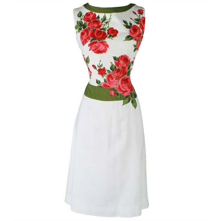 Vintage 1960's rose print linen cocktail dress - as worn on Mad Men's Kitty