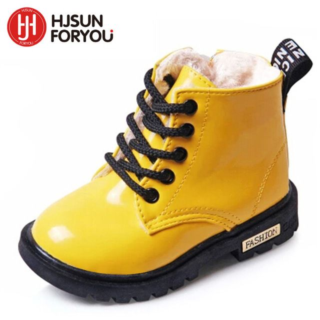 2018 New Winter Children Shoes PU Leather Waterproof Martin Boots Kids Snow Boots Brand Girls Boys Rubber Boots Fashion Sneakers