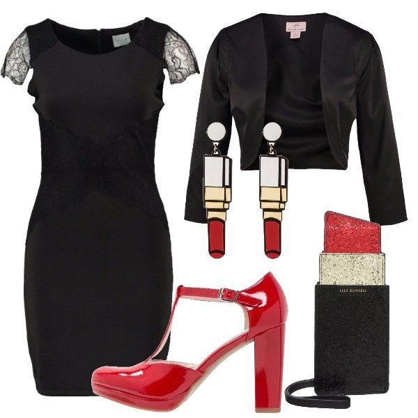 La truccatrice ha un ruolo importante durante il matrimonio, sopratutto per la sposa. Anche lei deve vestirsi bene, ad esempio con questo abitino nero, abbinato a dei tacchi in vernice rossi. Non potevano mancare accessori come la borsa e gli orecchini a forma di rossetto.