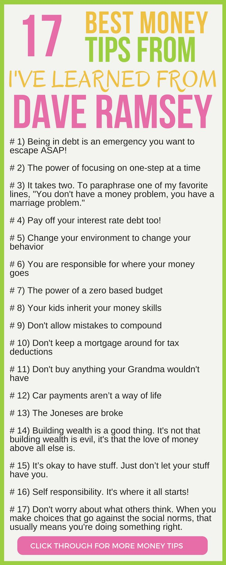 CHECK THIS OUT! 17 of the best money tips from Dave Ramsey. Here's the 17 personal finance lessons I've taken away from Dave Ramsey.