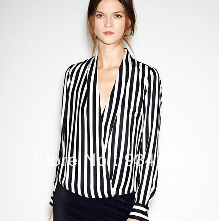 2013 Newest Fashion Women Chiffon Blouse Top Shirts V-neck Striped Long Sleeve Lady Blouse Free Shipping