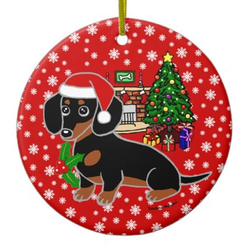 Black and Tan Dachshund Cute Eyes Christmas Tree Ornament for Dachshund Lovers!  #doxie #dachshund #cute #ornament