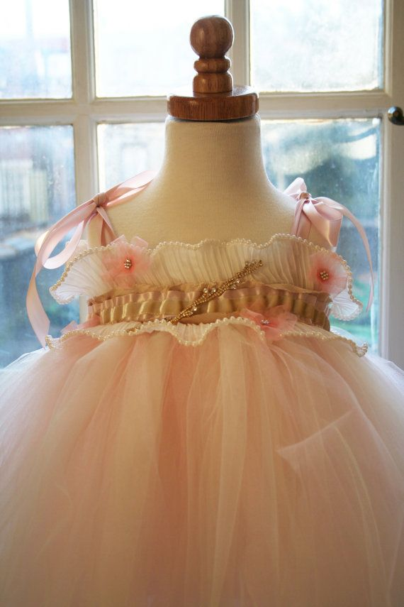 Blush Flowergirl Tutu Dress Country Chic Size by KellyHartzDesigns, $100.00