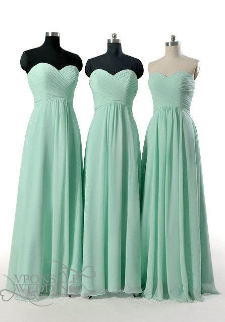 Strapless Sweetheart Long Mint Bridesmaid Dresses DVW0116 - VPonsale Wedding Custom Dresses