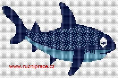 Shark, free cross stitch patterns and charts - www.free-cross-stitch.rucniprace.cz