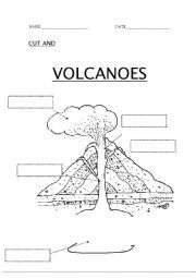 """Week 16, Cycle 1, """"The parts of a volcano""""   I gave each of the kids in my class one of these pages to fill out and color. (I let them color it in order to make it a little bit more fun since I teach one of the younger classes)"""