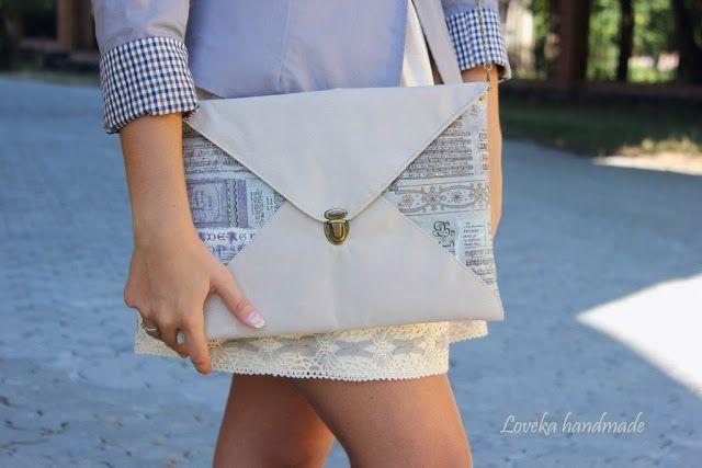"Loveka Handmade: Клатч-Конверт ""Письма"" Кожа и Лен/ Envelope clutch Leather&Linen"