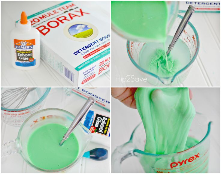 perfect slime: 1 cup water 1 cup glue and color;  1/2 cups water with 1/2 tsp borax.  Mixes perfectly without sticking.