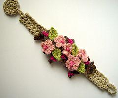 meekssandygirl's Crochet Cherry Blossom Sakura Bracelet: no pattern, swEEt inspiration!