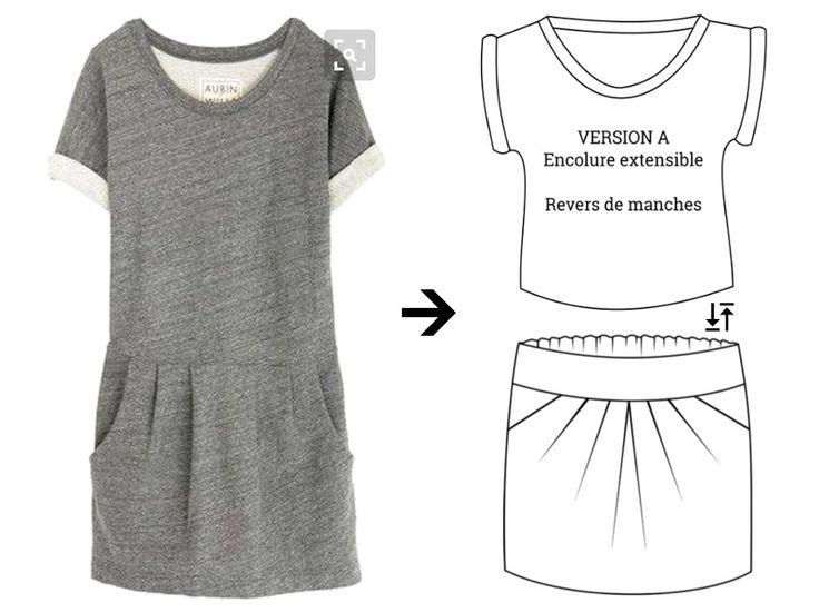 mix Trop-Top & 1001perles en sweat gris ou marinière, en supprimant la ceinture de la jupe, en fronçant la jupe dos et en adaptant les largeurs de la jupe au tee-shirt… c'est tentant aussi !