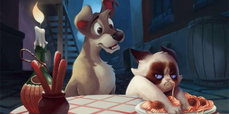 10 Depictions of Grumpy Cat in a Disney Scenario via www.bored.com