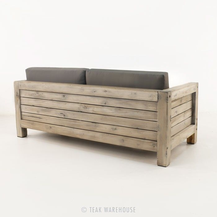 Lodge Distressed Teak Outdoor Loveseat - Teak Deep Seating - Deep Seating Collections
