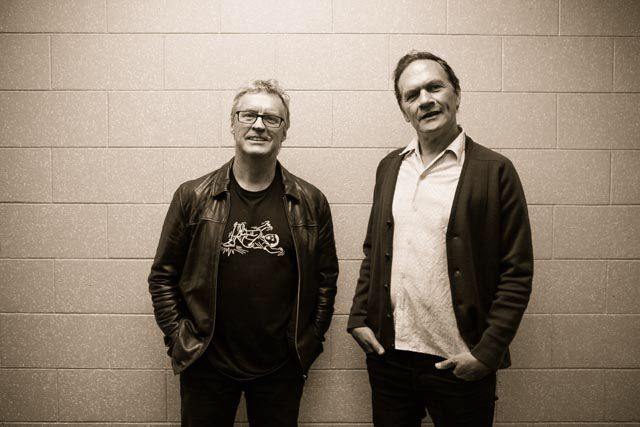 NZ rock legends, Don McGlashan and Shane Carter taking a break from rehearsal