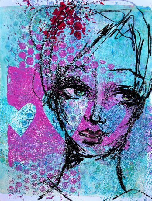 ©Dina Wakley - Drawing over a gelli print... Love doing gelli prints and then drawing on them...