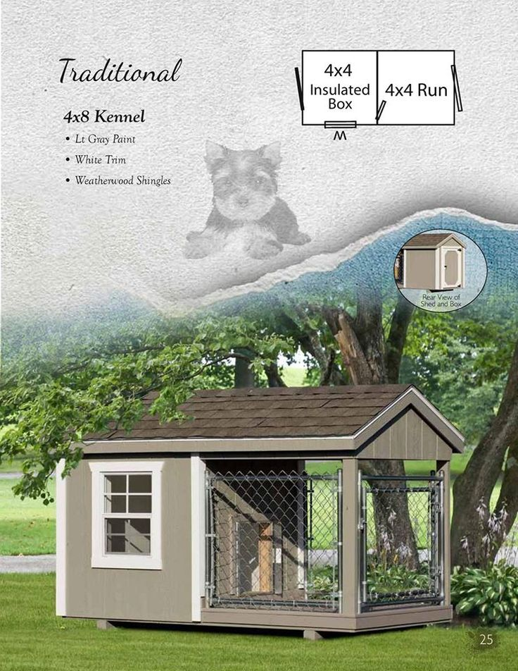 Traditional 4x8 Kennel ~Amish Built ~ Light Gray Paint ~ White trim ~Weatherwood Shingles  This is a one 4x4 box with a 4x4 Run! Contact me to order yours! www.facebook.com/hometownshedsasheboro