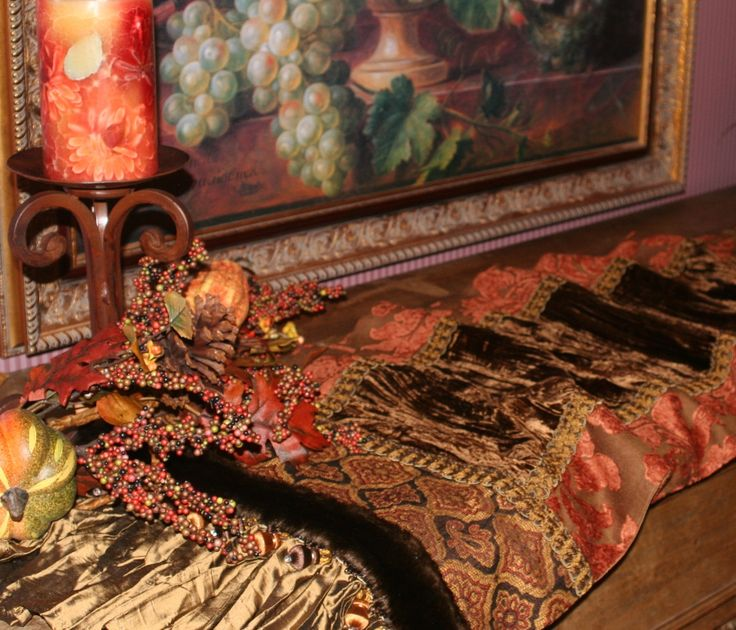TABLE RUNNERS by Reilly-Chance Collection: Runner #144_(19x72) Chocolate brown velvet and terracotta chenille