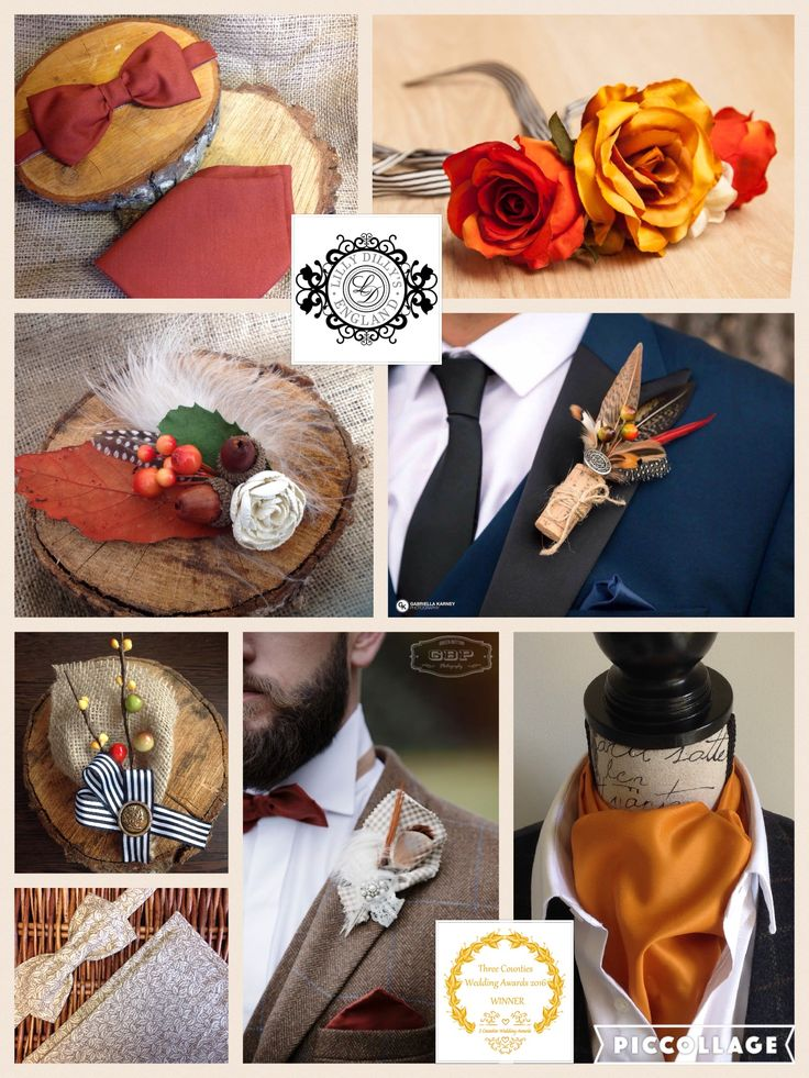 Bespoke autumnal themed accessories from Lilly Dilly's  #wedding #autumn #leaves #feathers #nature #groom #bride #bespoke #Lilly Dilly's #button hole #boutonniere #cravat #ascot #bow tie #flower crown #men