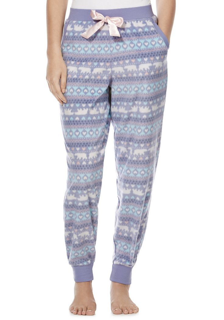 Clothing at Tesco | F&F Polar Bear Fair Isle Fleece Cuffed Lounge Pants > outfit-builder > Nightwear & Slippers > Women