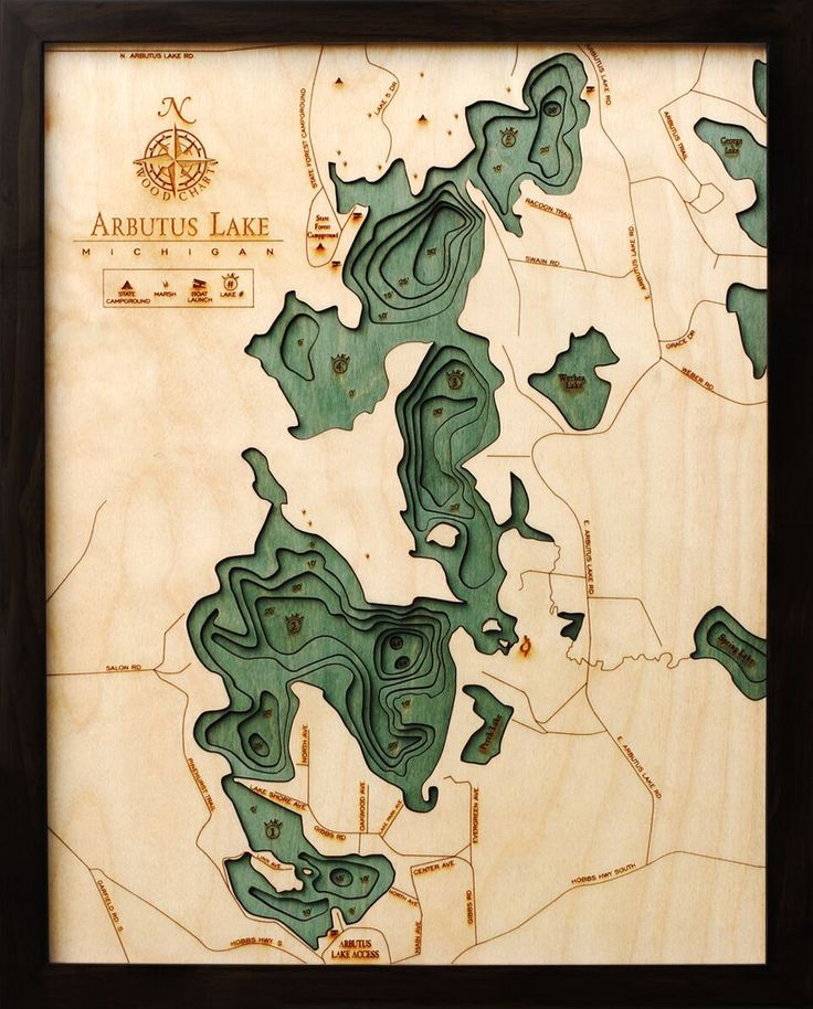 Maryland Map Coordinates%0A Arbutus Lake  MI Wood Chart