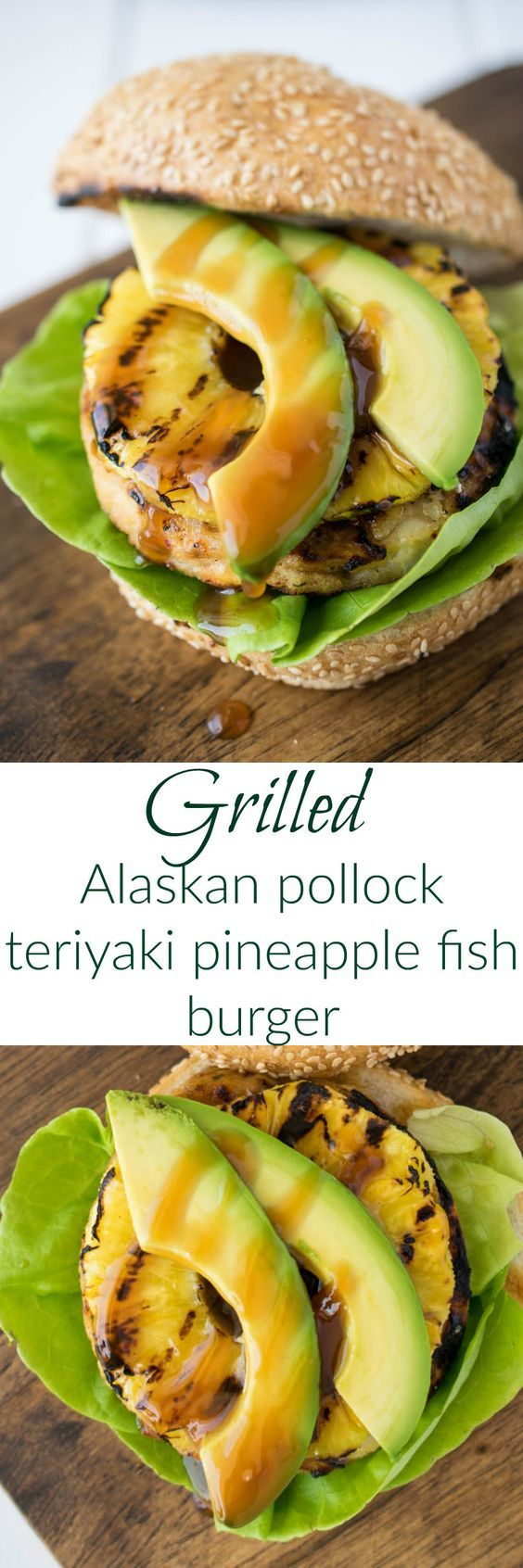 The Ultimate Pinterest Party, Week 107 Grilled Alaskan pollock teriyaki pineapple fish burger is white fish burger with homemade teriyaki sauce topped with sweet grilled pineapple and sliced avocado is burger deliciousness without the guilt. #Swapyourburger #ad @tridentseafoods