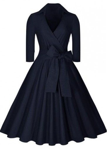 Navy Blue High Waist Knee Length Dress on sale only US$29.50 now, buy cheap Navy…