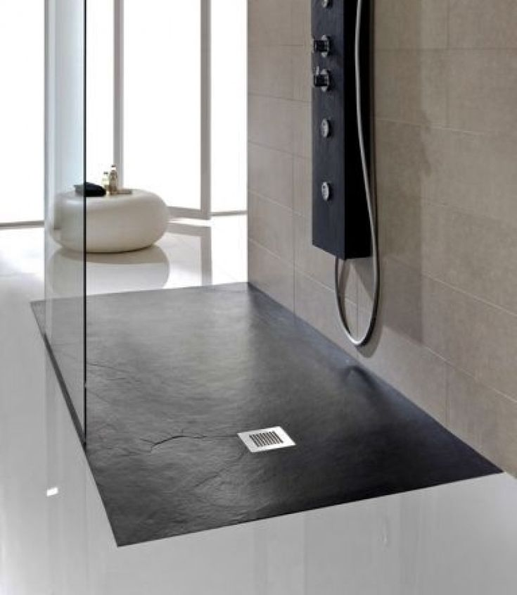 JT Softstone Aqua cushion floor 800 x 800 shower tray in black