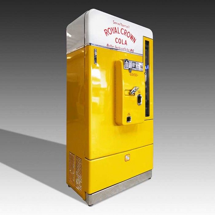 This exceedingly rare VMC 110 Royal Crown Cola vending machine has been fully restored inside and out, including the addition of a modern refrigeration unit which runs on a UK power supply. We bring a small number of these classic vending machines back from the USA every year, before carrrying out a painstaking restoration process at our Weybridge workshop