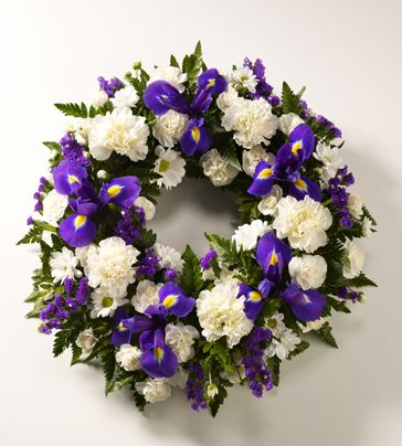 white flower wreaths | ... categories - Funeral - Wreaths - Classic Selection Wreath Blue white