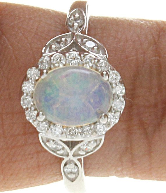 Opal Diamond Ring Opal Birth Stone Ring Diamond Opal Ring
