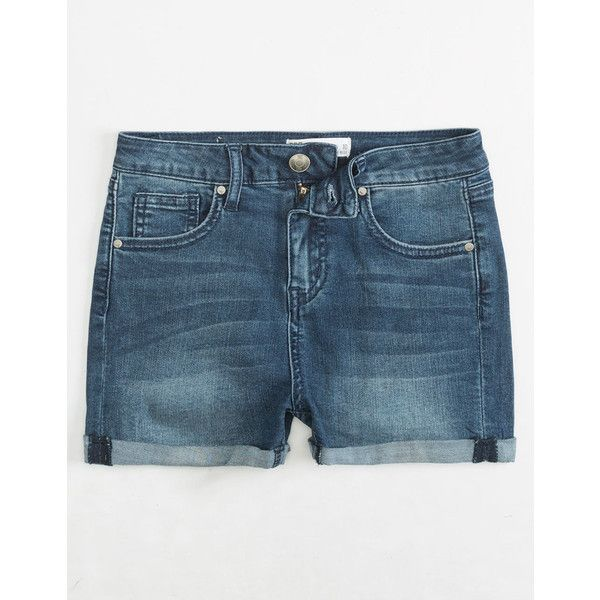 Rsq Sunset High Rise Girls Denim Shorts ($23) ❤ liked on Polyvore featuring shorts, frayed shorts, short jean shorts, high rise jean shorts, high rise denim shorts and high-rise shorts