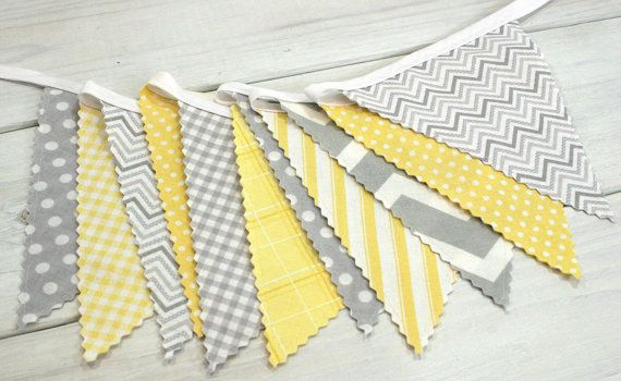 Bunting Fabric Banner Fabric Flags Nursery Decor by thespottedbarn