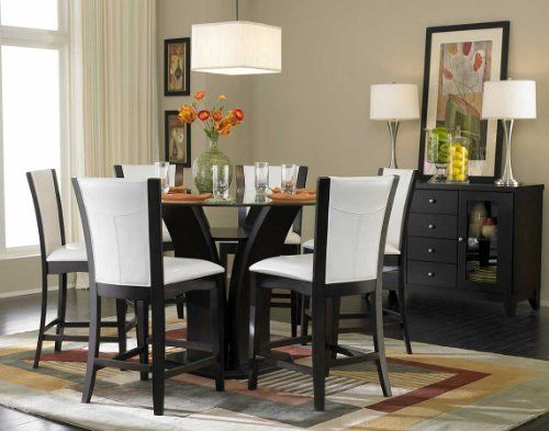 Contemporary Round Small Dining Room Furniture Sets With White Upholstered  Chairs And Glass Tables Pictures