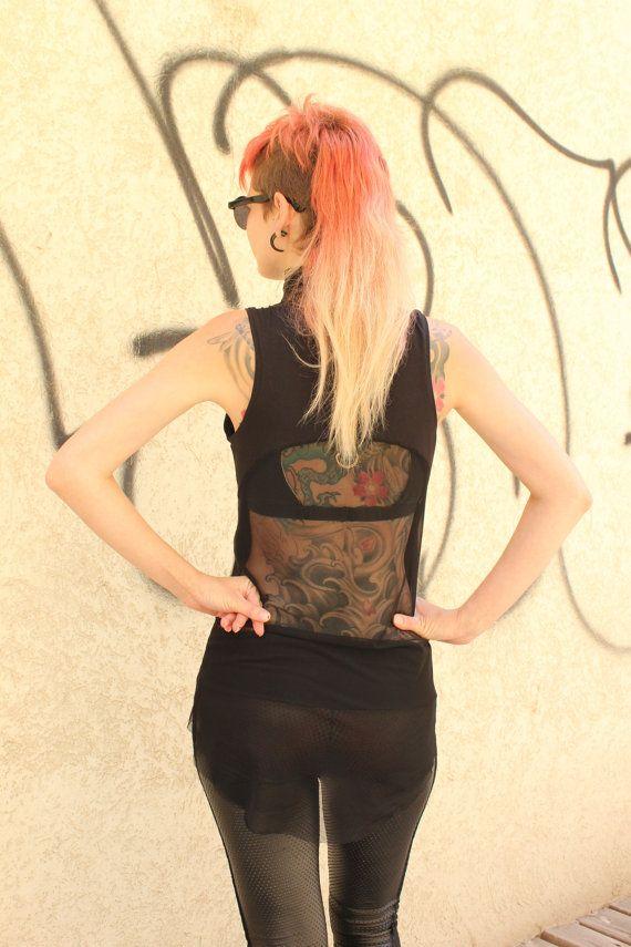 Túnica de estilo gótico túnica negra pura espalda Sexy por MoLeKuLa