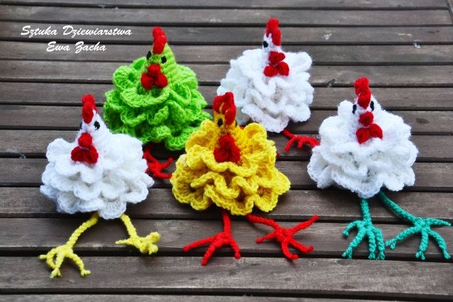 Three Crochet Easter egg decoration with long legs, Tree cozy Chicken egg warmers, egg cover ,crochet egg covers ,egg cozy chickens. zł45.00, via Etsy.
