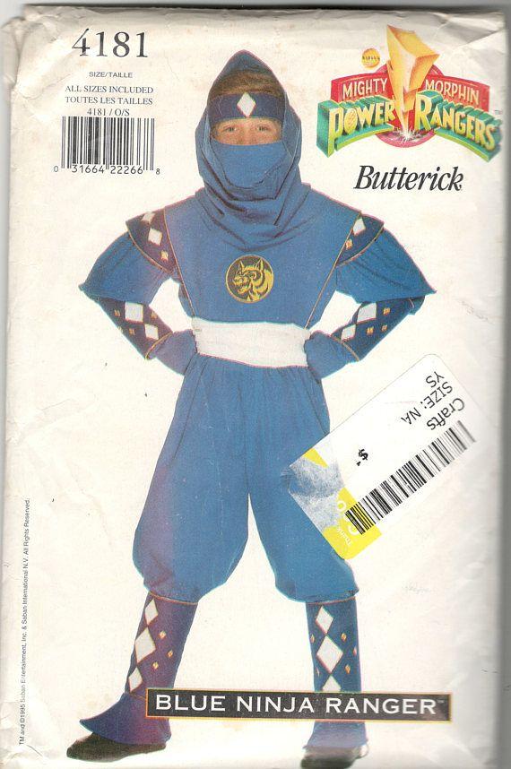 Butterick 4181 Boys Girls Teen BLUE Ninja POWER RANGER
