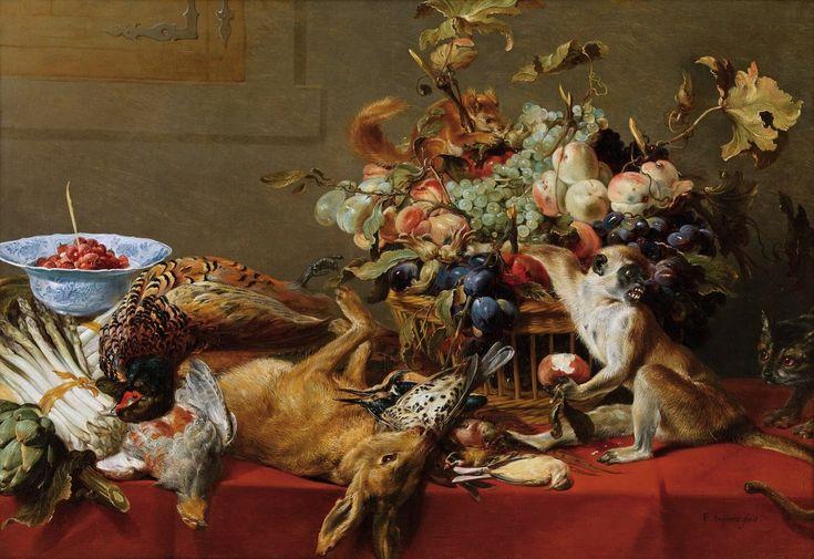 Натюрморт с обезъянкой, котом и белкой (Вена, Коллекция Гогенбухау)